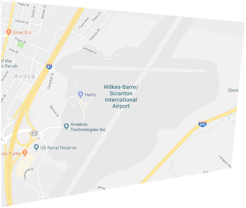 Map showing the location of the airport